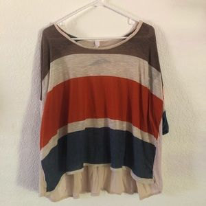 Tops - Stripe Tee with beautiful back draping